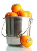 Reife mandarinen in metallschnalle isoliert auf weiss — Stockfoto