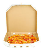 Tasty pizza in box isolated on white — Stock Photo