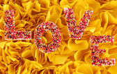 Word Love on decorative yellow background — Stock Photo
