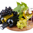 Bottles and glasses of wine and assortment of grapes, isolated on white — Stock Photo #14398713