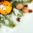 Royalty-Free Stock Photo: Christmas composition with oranges and fir tree, isolated on white