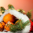 Christmas composition with oranges and fir tree in Santa Claus hat - Foto Stock