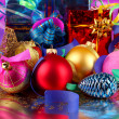Christmas decoration on purple background — Stock Photo