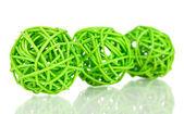 Wicker bamboo balls isolated on white — Stock Photo