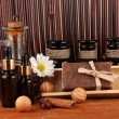 Ingredients for soap making on brown background — Stok Fotoğraf #14501017