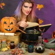 Halloween witch preparing poison soup in her cauldron on color background — Stock Photo #14501231
