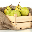 Ripe pears in wooden box close-up — Stock Photo #14501735