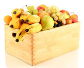 Still life of fruit in a box isolated on white — Stock Photo
