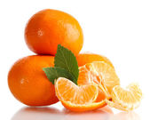Ripe tasty tangerines isolated on white — Stock Photo