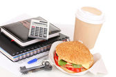 Appetizing sandwich with with office supplies isolated on white — Stock Photo