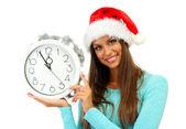 Giovane e bella donna con orologio, isolato su bianco — Foto Stock