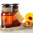 Medicine bottles and calendula, isolated on white — Stock Photo #14574691