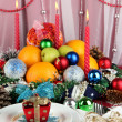 Serving Christmas table on white fabric background - Stock fotografie