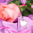 Beautiful pink rose with heart pendant — Stockfoto