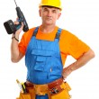 Male builder with drill in hand isolated on white close-up — Foto de Stock