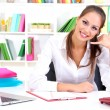 Young pretty business woman with phone and notebook working at office. Contact us — Stock Photo