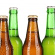 Coloured glass beer bottles isolated on white — Foto de Stock