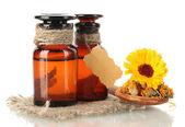 Medicine bottles and calendula, isolated on white — Stock Photo