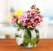 Colorful bouquet of chrysanthemums in a glass vase on wooden table close-up — Stock Photo