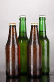 Coloured glass beer bottles on grey background — Stock Photo