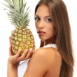 Beautiful young woman with pineapple, isolated on white — Stock Photo