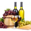 Stock Photo: Barrel, bottles and glasses of wine, cheese and grapes, isolated on white