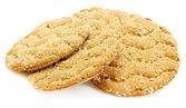 Chutné křupavý chléb izolovaných na bílém — Stock fotografie