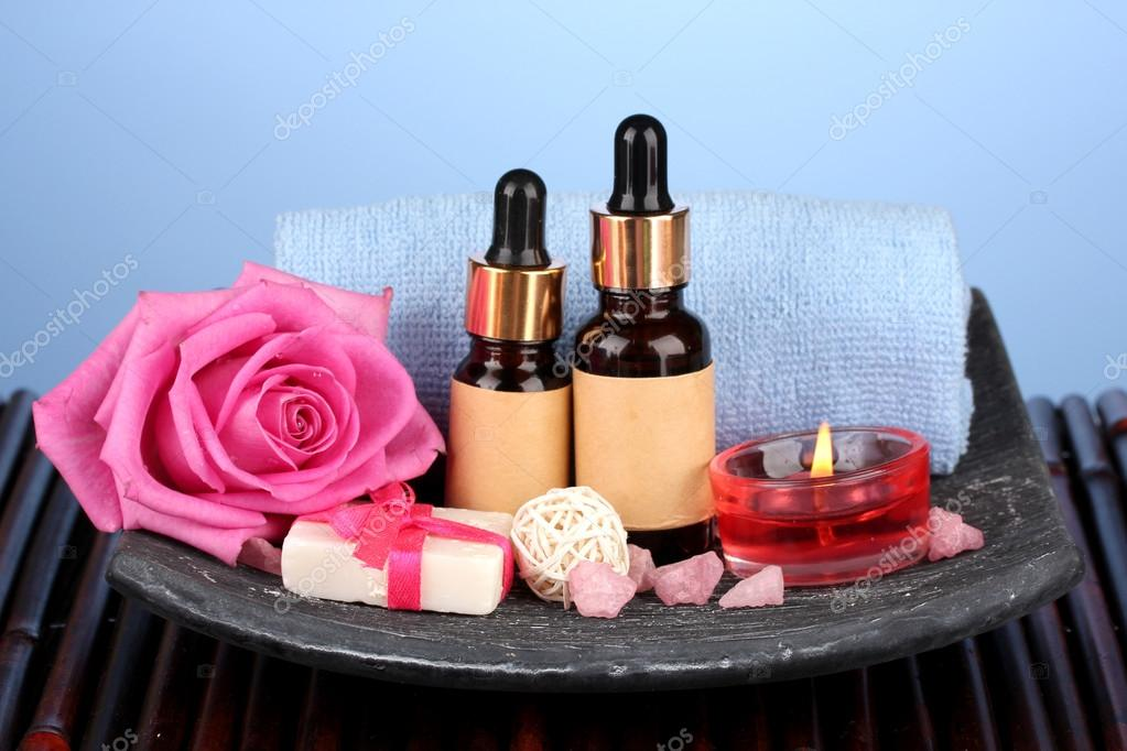 Spa setting  on  blue background  Stock Photo #14615689
