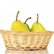 Ripe pears in wicker basket isolated on white — Stock Photo #14670539