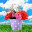 Purple bucket with white polka-dot with flowers on sky background — Stock Photo #14670731
