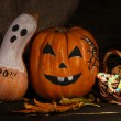 Halloween pumpkins on dark background - Stock Photo
