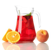 Sangria in jar with fruits, isolated on white — Stock Photo