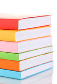 Stack of multicolor books isolated on white — Stock Photo