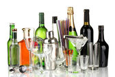 Collection of various glasses and drinks isolated on white — Stock Photo