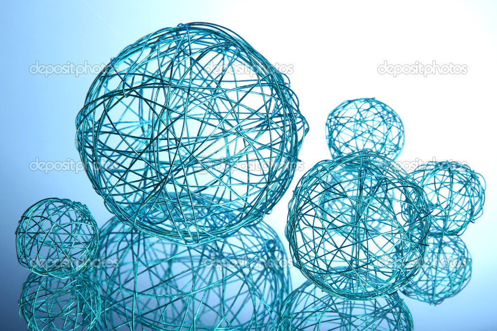 Beautiful decorative balls, on blue background — Stock Photo #14670793