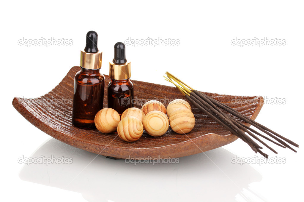 Aromatherapy setting isolated on white — Stock Photo #14672015