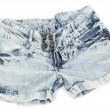 Fashion blue denim shorts close-up isolated on white — Stock Photo
