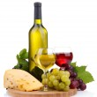 Bottle and glasses of wine, assortment of grapes and cheese isolated on white — Stock Photo #14738333