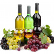 Bottles and glasses of wine and assortment of grapes, isolated on white — Stock Photo #14738337