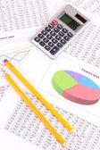 Dokumenty, kalkulator i okulary z bliska — Zdjęcie stockowe
