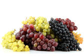 Assortment of ripe sweet grapes isolated on white — 图库照片