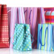 Bright shopping bags isolated on white — Stock Photo