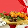 Beautiful christmas table setting with tangerines and fir tree, close up — ストック写真