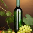 Bottle of great wine on wooden table on brown background — Stock Photo