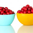 Fresh cornel berries in colorful bowls isolated on white - Stock fotografie