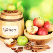 Stock Photo: Honey and apples with cinnamon on wooden table on natural background
