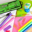 Various school supplies close-up isolated on white — Stock Photo #14789367