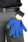 ブラシと手袋をバック ポケットのクローズ アップ — ストック写真