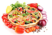 Delicious pizza with ingredients around isolated on white — Stock Photo