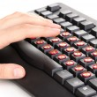 Painful typing on keyboard close-up — Stok fotoğraf